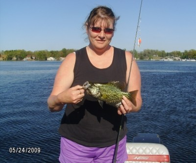 Photo of Crappie  Caught by Kimberly with Mister Twister Aglia & Dressed Aglia in Michigan - Mister Twister