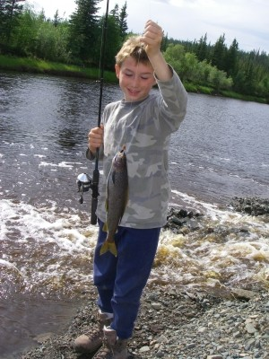 Photo of Grayling Caught by Lewis with Mepps Aglia Ultra Lites in Alaska