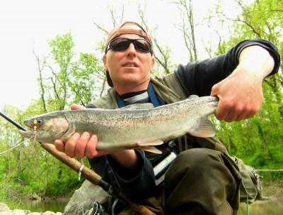 Photo of Steelhead Caught by Ted with Mister Twister Aglia & Dressed Aglia in Indiana - Mister Twister