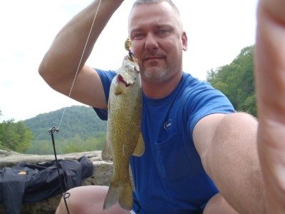 Photo of Bass Caught by Eric with Mepps Aglia & Dressed Aglia in Virginia