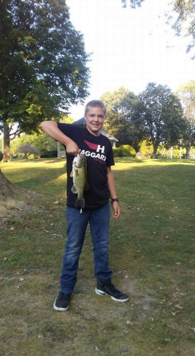 Photo of Bass Caught by Kyler with Mepps Timber Doodle in Wisconsin